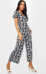 Black Daisy Print Short Puff Sleeve Culotte Jumpsuit 3