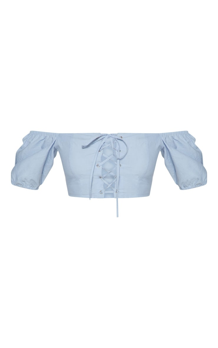 Blue Cotton Lace Up Bardot Crop Top  3