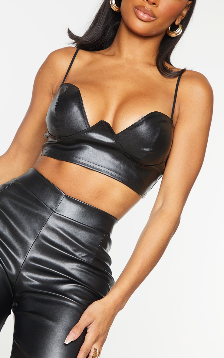 Shape Black PU Cup Detail Bralet 4