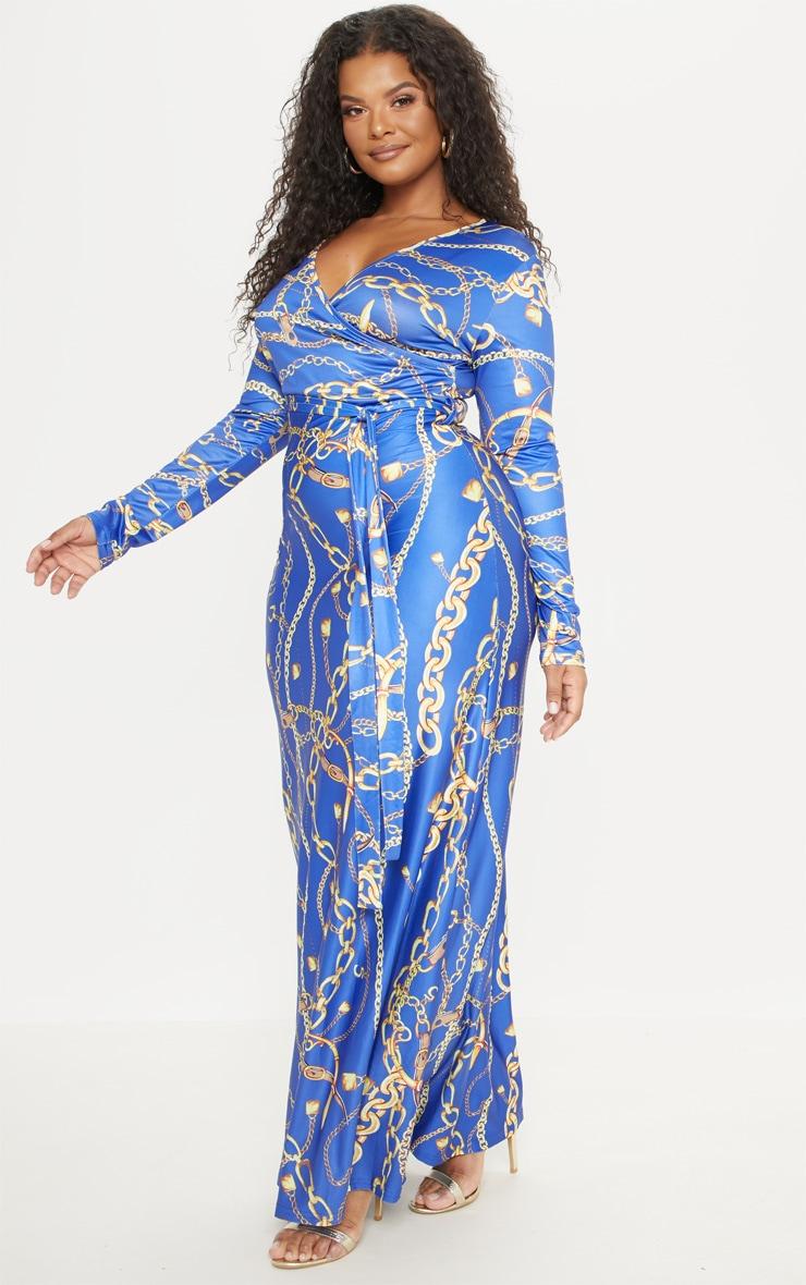 PLT Plus Robe longue cache coeur bleu cobalt imprimé chaîne