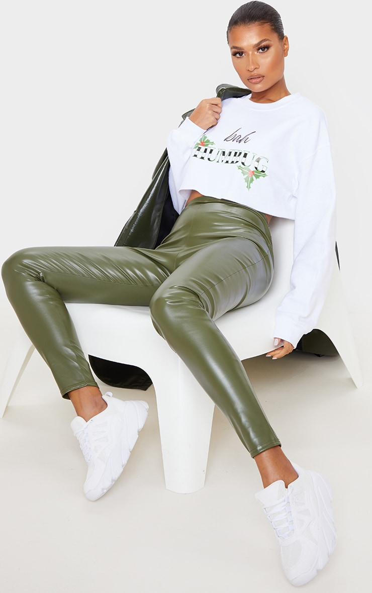 White Bah Humbug Cropped Sweatshirt 4
