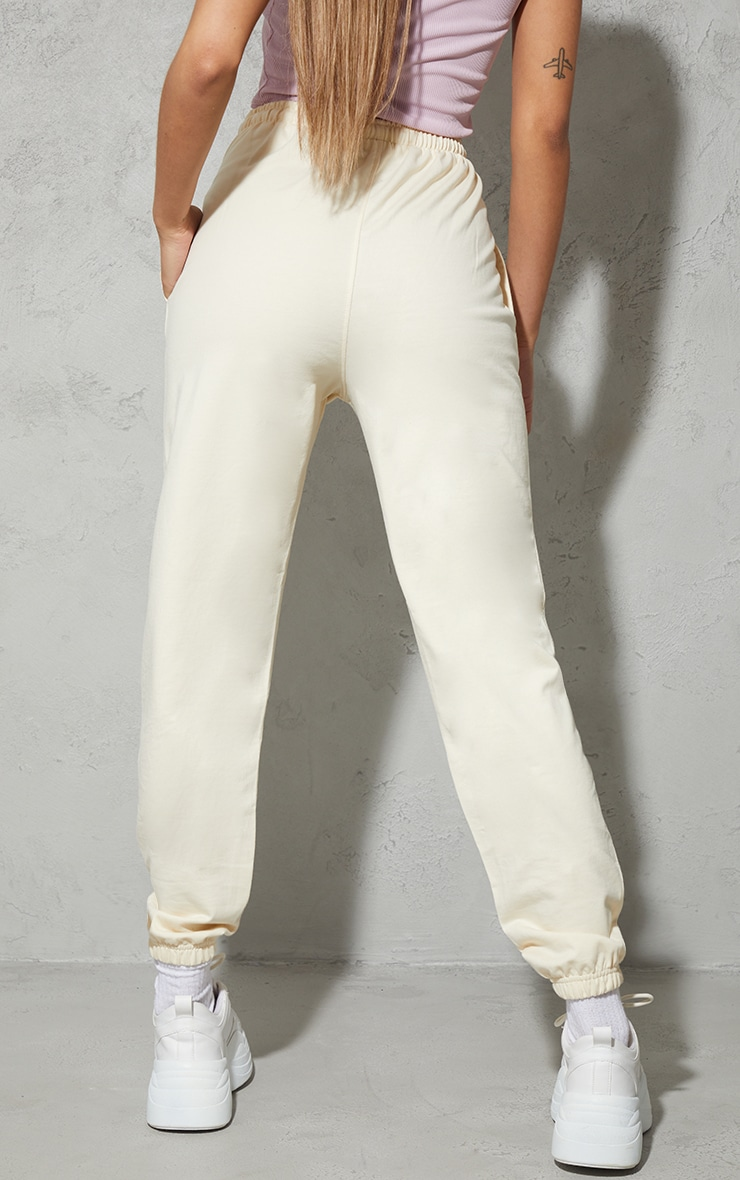 PRETTYLITTLETHING Cream Towelling Embroidered Sweat Pant Joggers 3