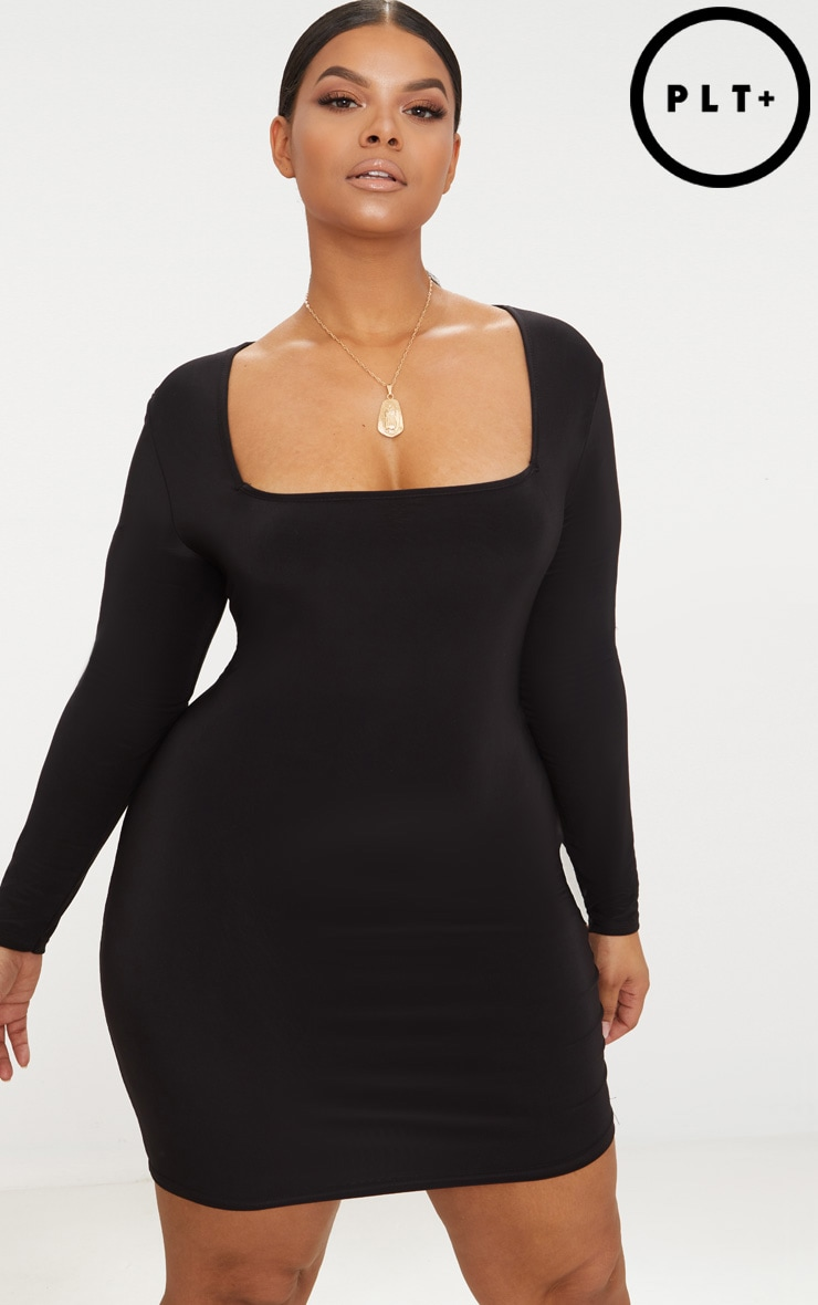Plus Black Second Skin Slinky Bodycon Dress 1