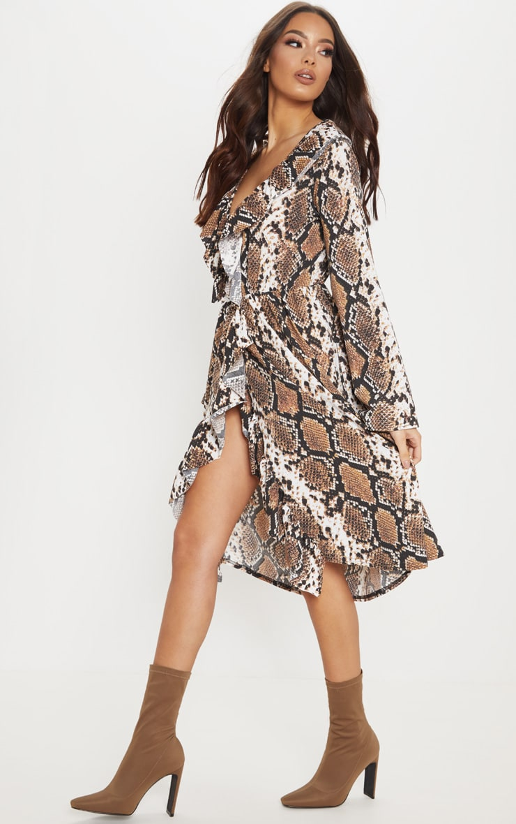 Brown Snake Print Wrap Front Frill Midi Dress 4