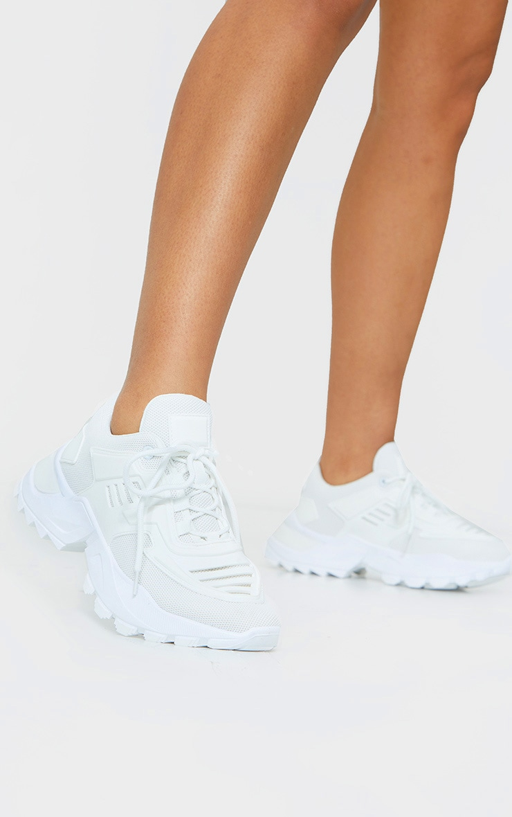 White Sports Panel Upper Cleated Chunky Trainers 1