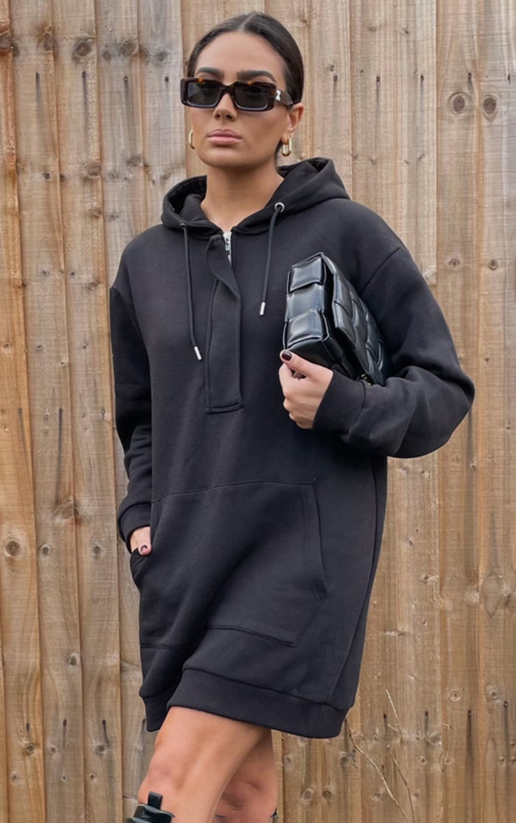 lack Oversized Pocket Front Hoodie Sweater Dress 3