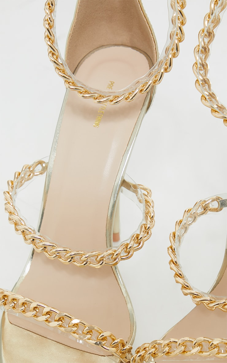 Gold Round Toe Triple Strap Chain High Heels 4