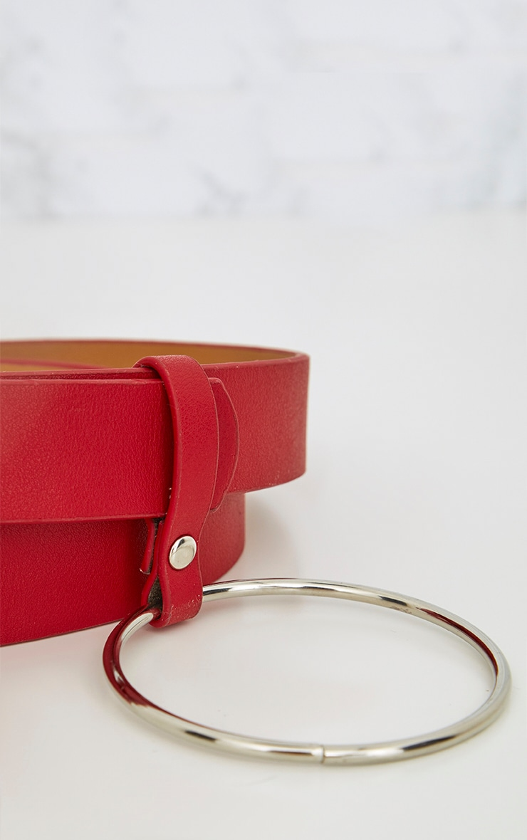 Red Ring Detail Waist Belt 4