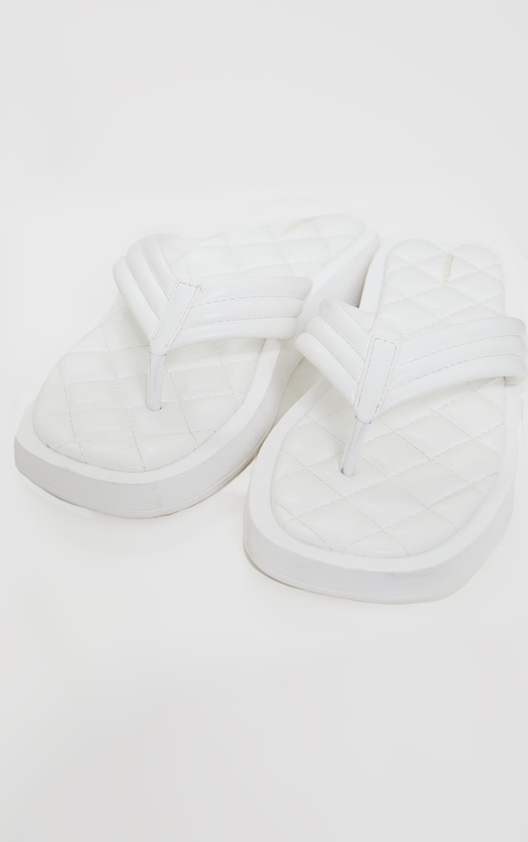 White Chunky Sandal Quilted Toe Post Flip Flops 1