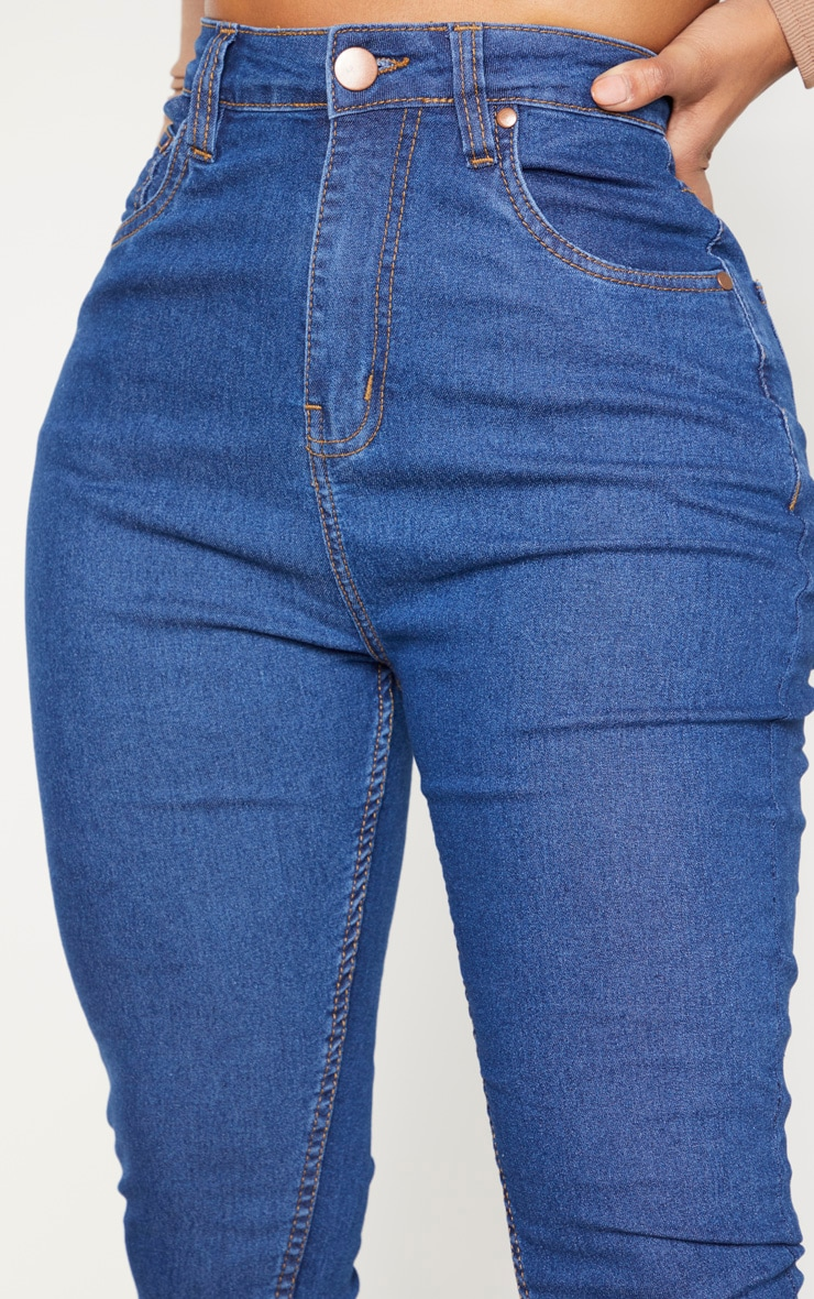 Shape Mid Wash High Waisted Super Stretch Skinny Jeans 4