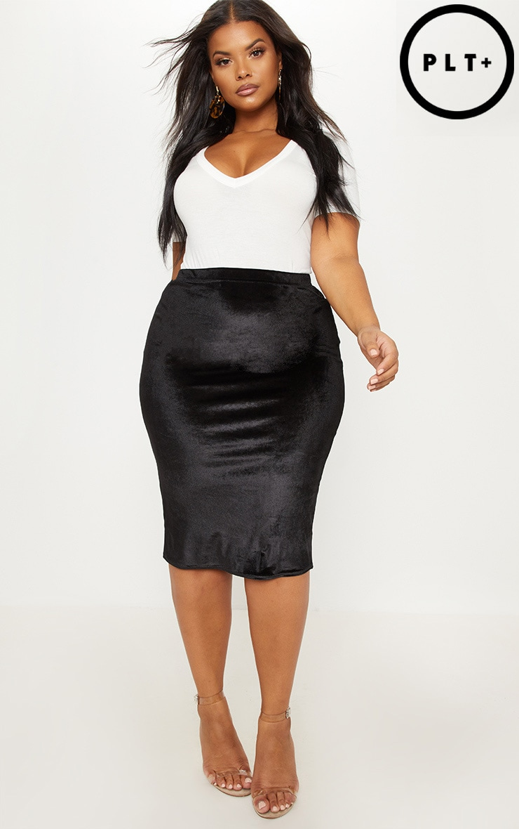 Plus Black Velvet Midi Skirt