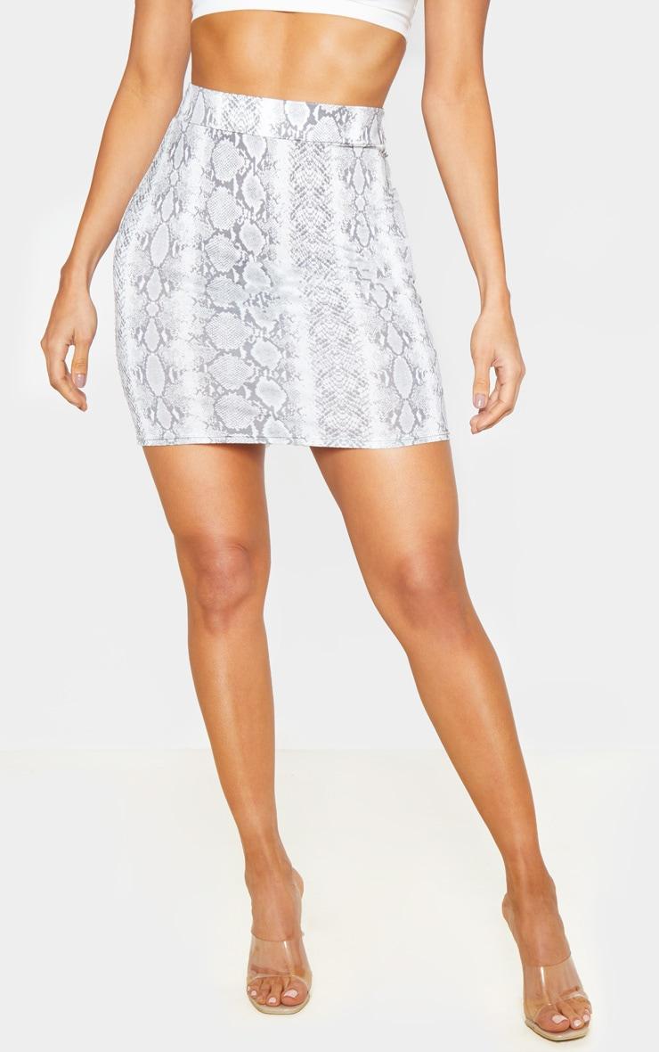 Snake Print Ruched Seam Detail Mini Skirt  2