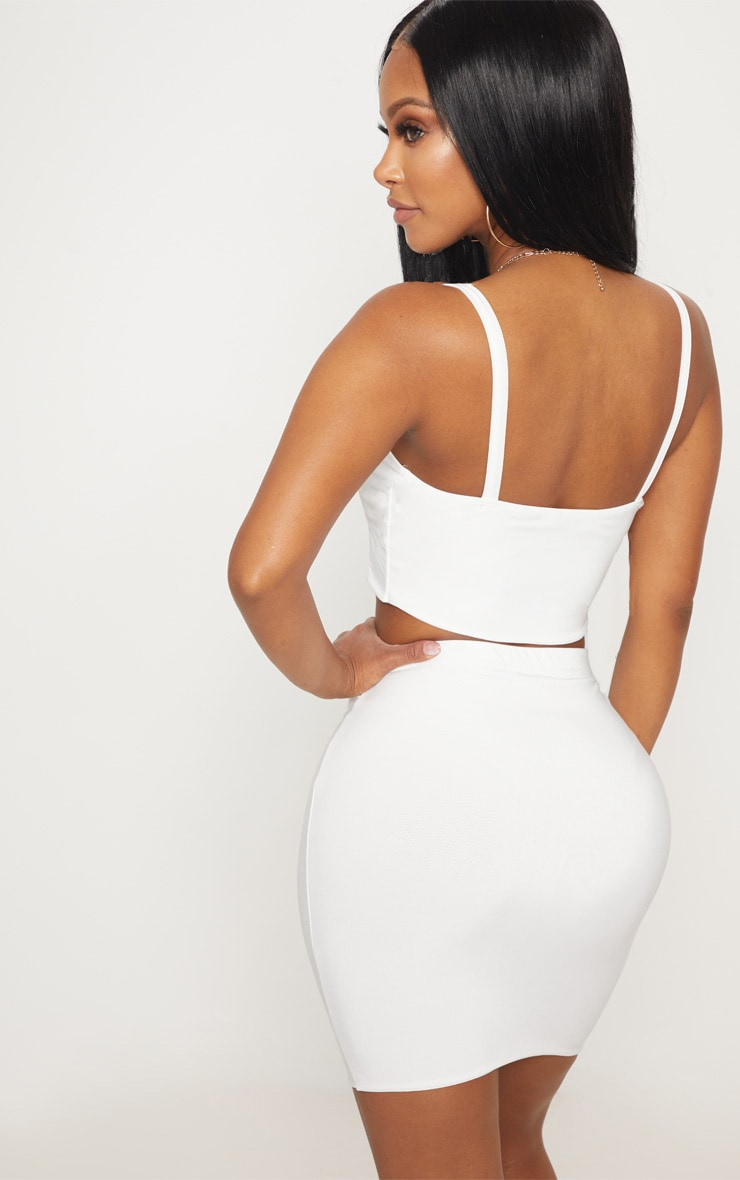 Shape Ivory Slinky Panelled Crop Top 2