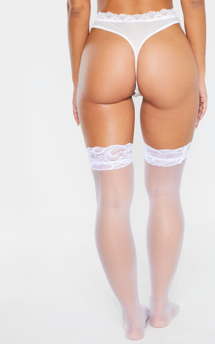 White Lace Top Sheer Hold Up Stockings 3