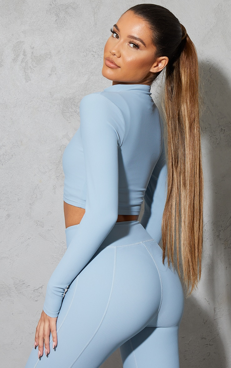Dusky Blue Ribbed Textured Zip Up Sports Jacket 2