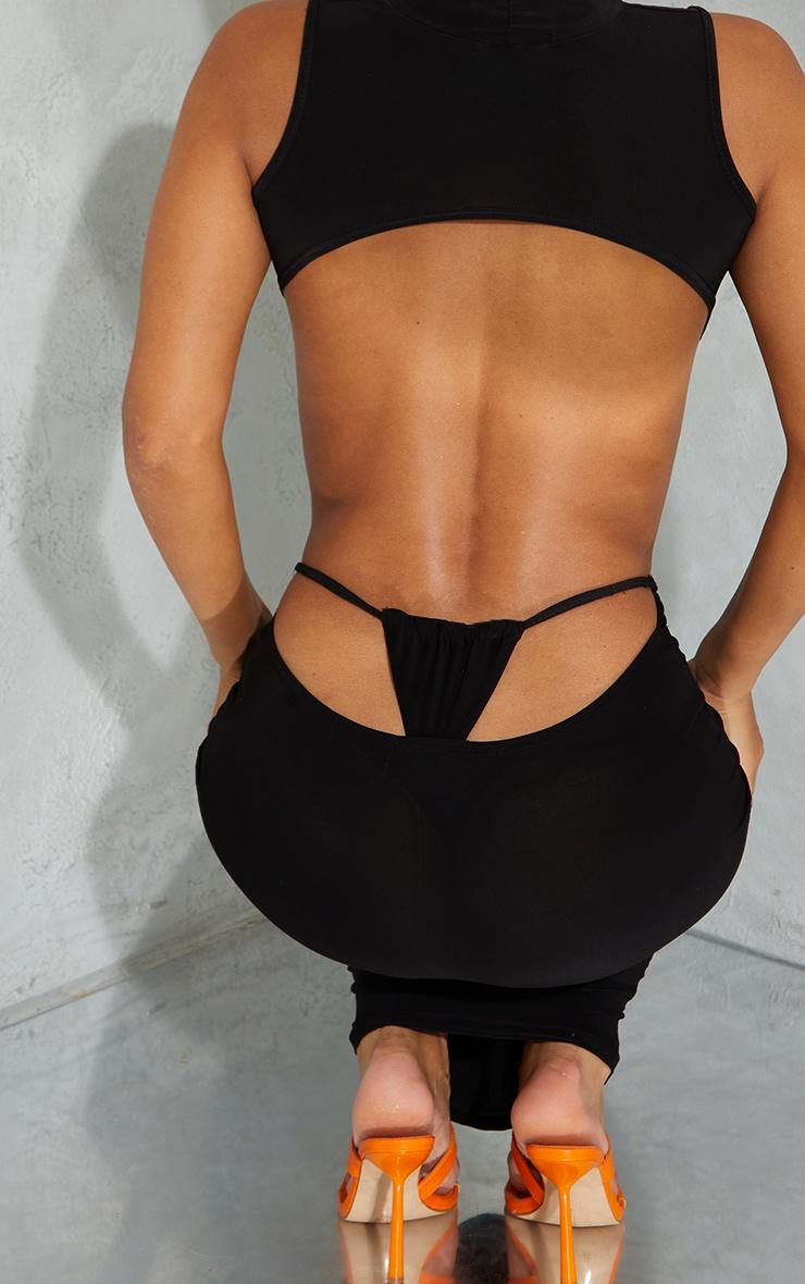 Black Slinky Thong Bum Detail Midaxi Skirt 4