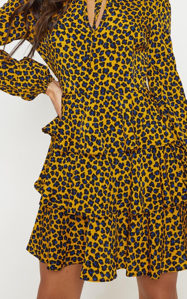Mustard Leopard Print Layered Frill Tie Neck Smock Dress 5