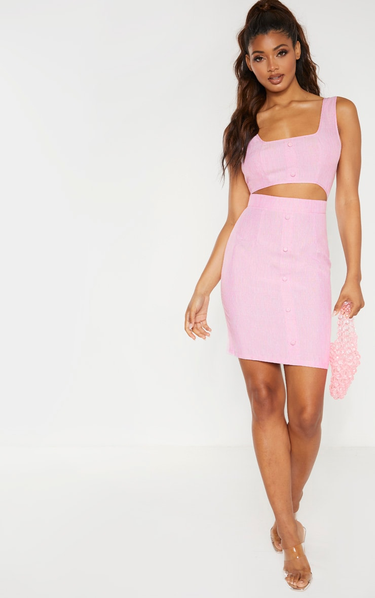 Tall Pink Button Detail Cut Out Dress 4