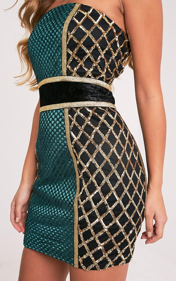 Ezmai Emerald Green Premium Sequin Panel Bodycon Dress 7