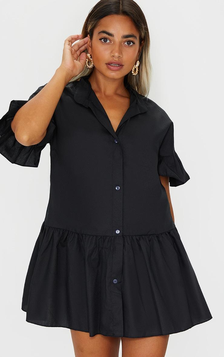 Petite Black Drop Hem Short Sleeve Shirt Dress 1