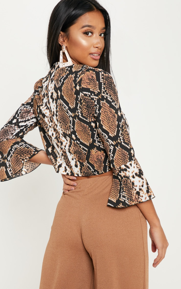 Petite Taupe Snake Print Cropped Blouse 2