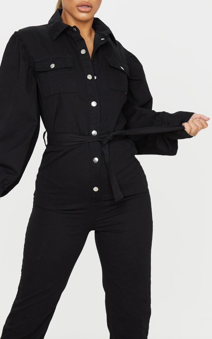 Petite Black Balloon Sleeve Denim Jumpsuit 5