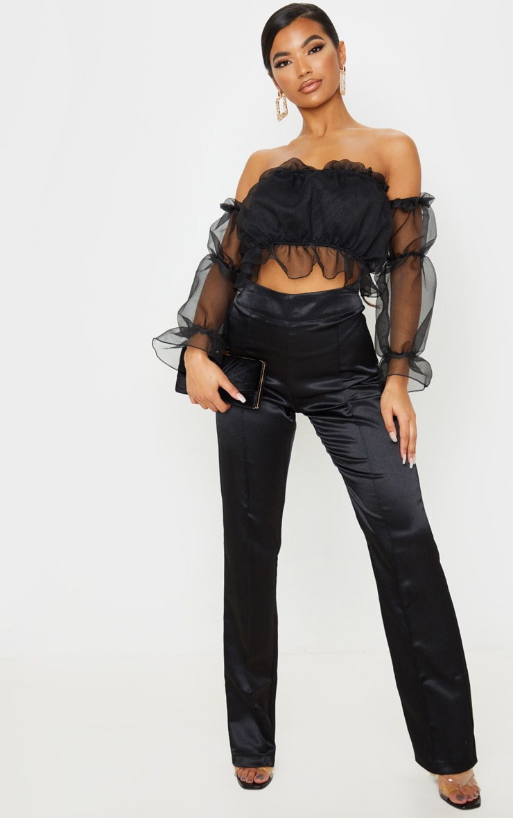 Black Organza Ruffle Bardot Flared Sleeve Blouse 3