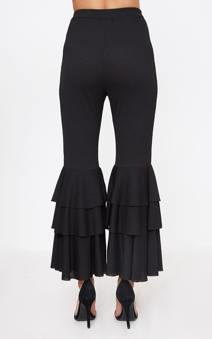Black Layered Frill Flare Trousers 4