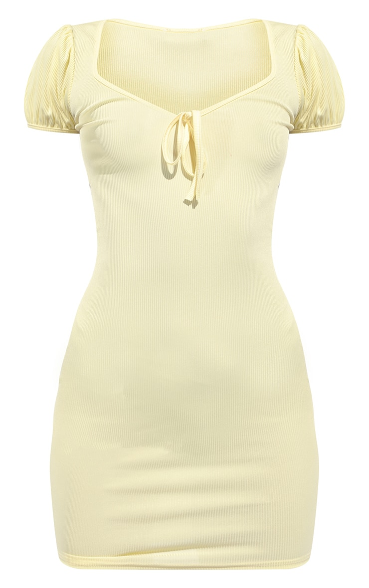 Lemon Ribbed Puff Sleeve Tie Detail Bodycon Dress 5