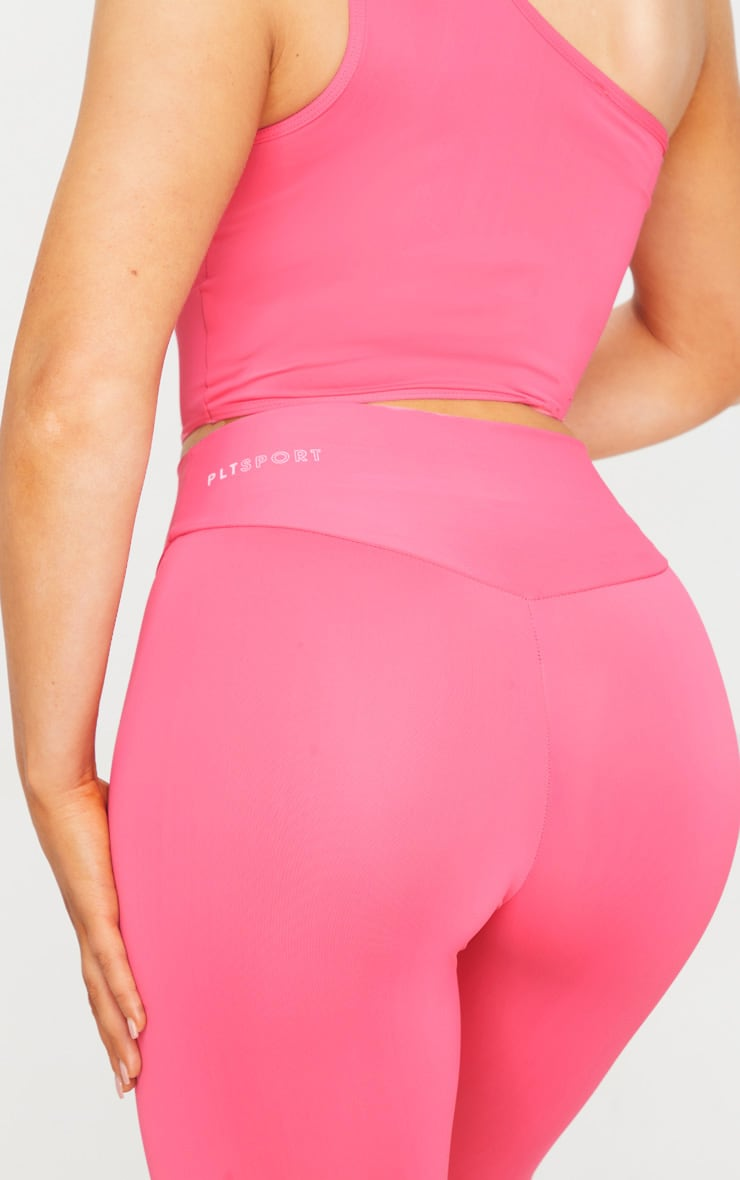 PRETTYLITTLETHING Hot Pink Sport High Waisted Gym Leggings 4