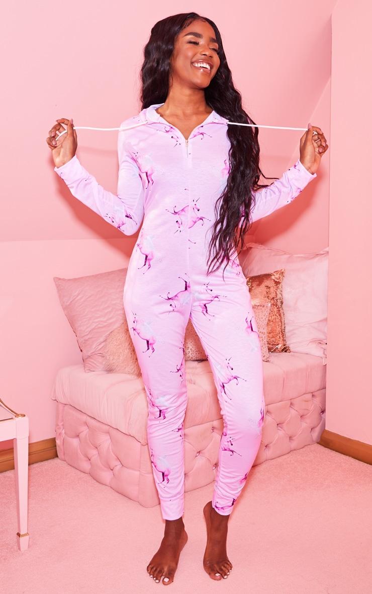 PRETTYLITTLETHING Pink Unicorn Print Onesie 1