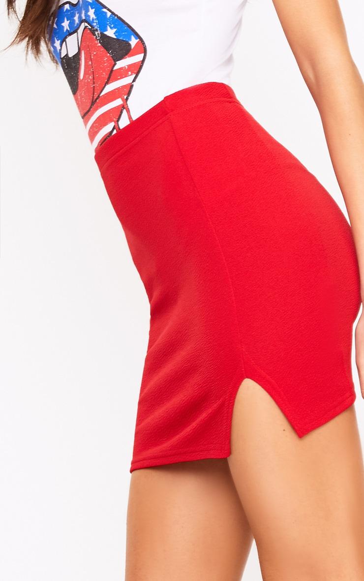 Red Split Mini Skirt  6