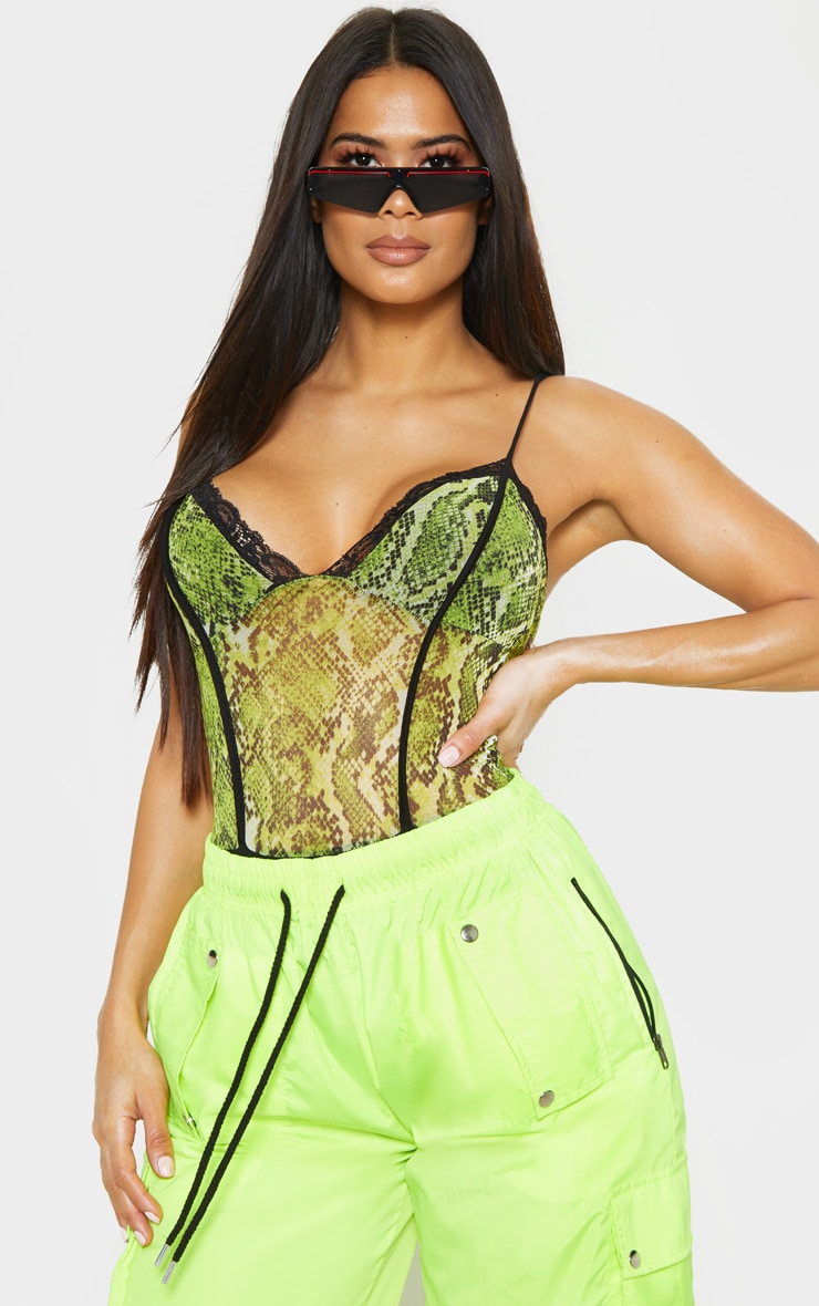 Lime Snake Print Mesh Lace Trim Bodysuit 1