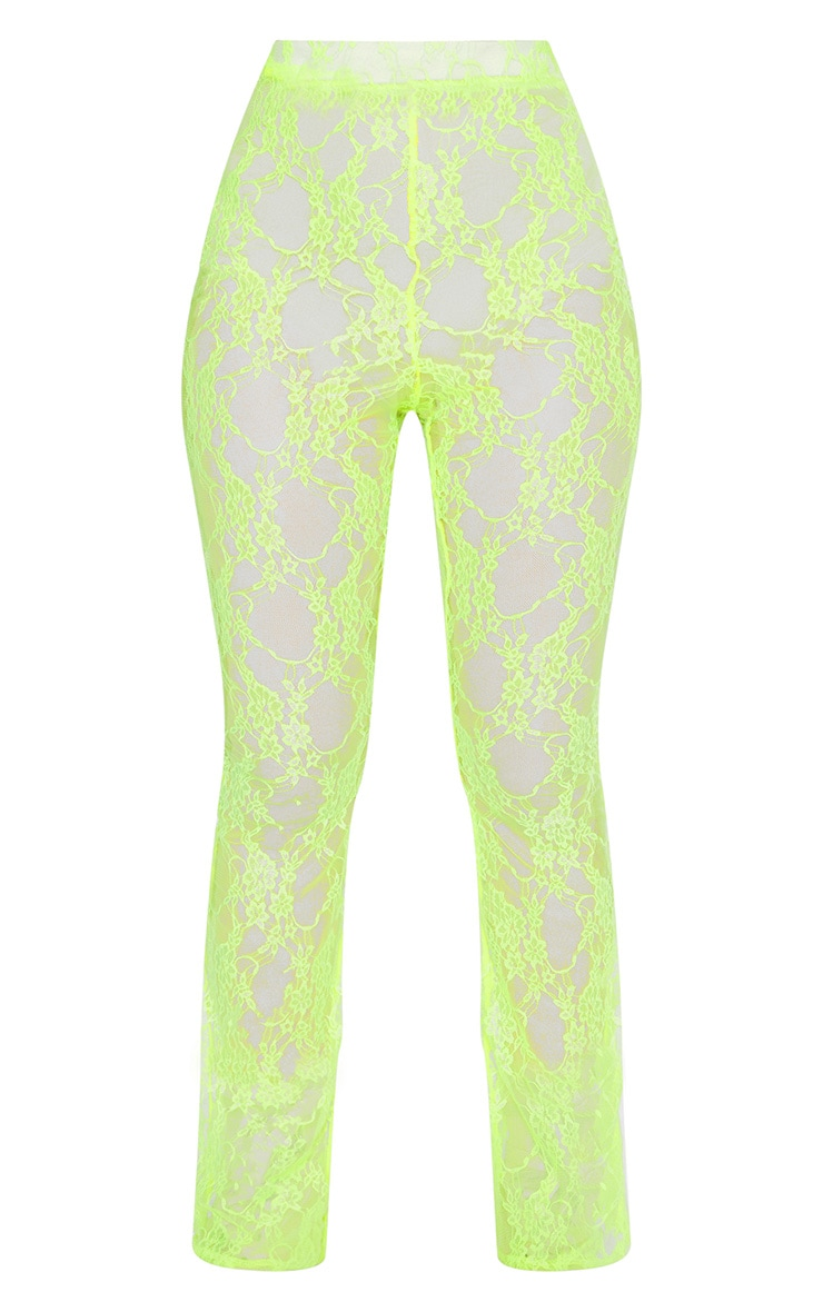 Lime Lace Flared Pants 4