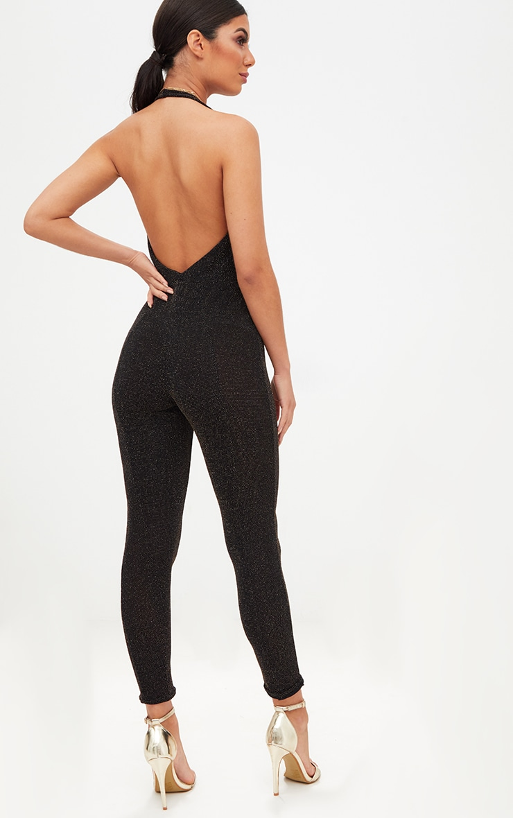 Black/Gold Lurex Plunge Jumpsuit 2