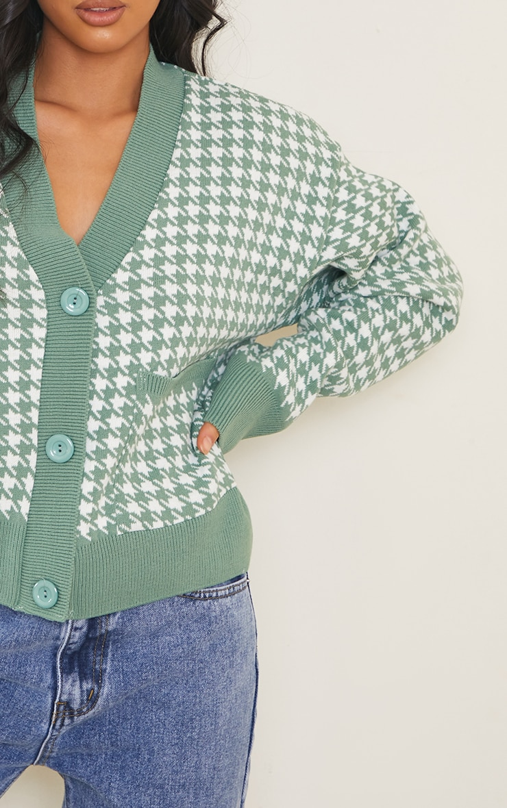Petite Green Check Oversized Cardigan 4