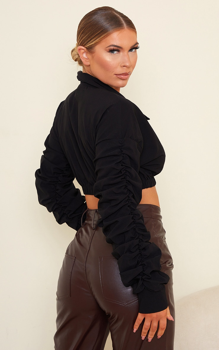 Black Extreme Ruched Long Sleeve Cropped Shirt 2