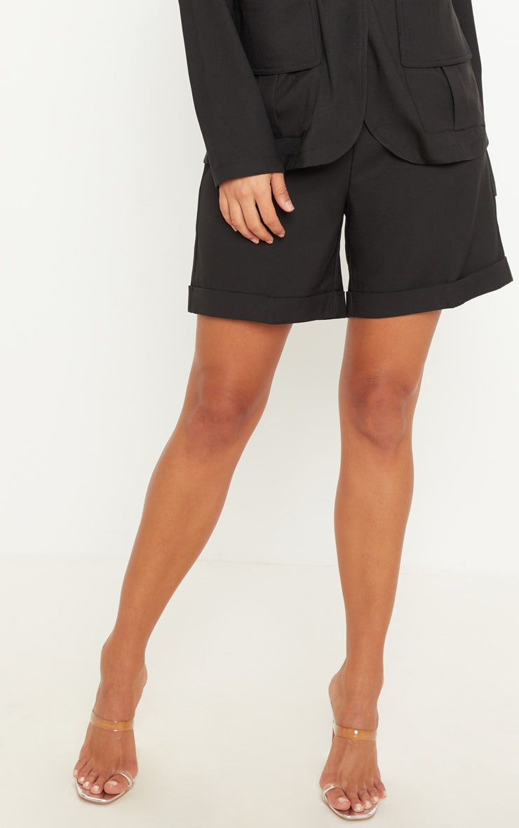 Black Woven High Waisted Shorts 2