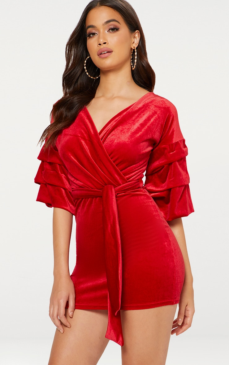 Red Tuck Sleeve Wrap front Tie Waist Bodycon Dress 1