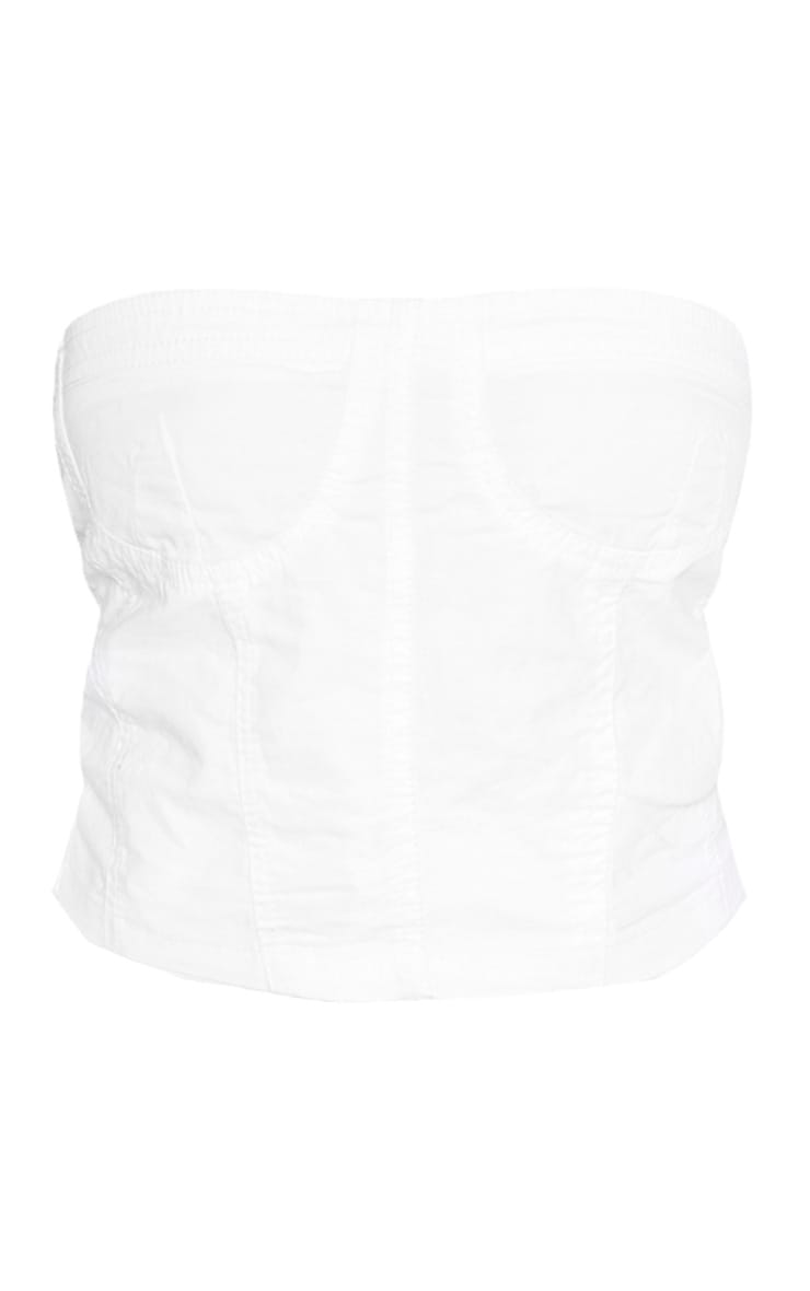 Shape White Denim Corset Detail Crop Top 3