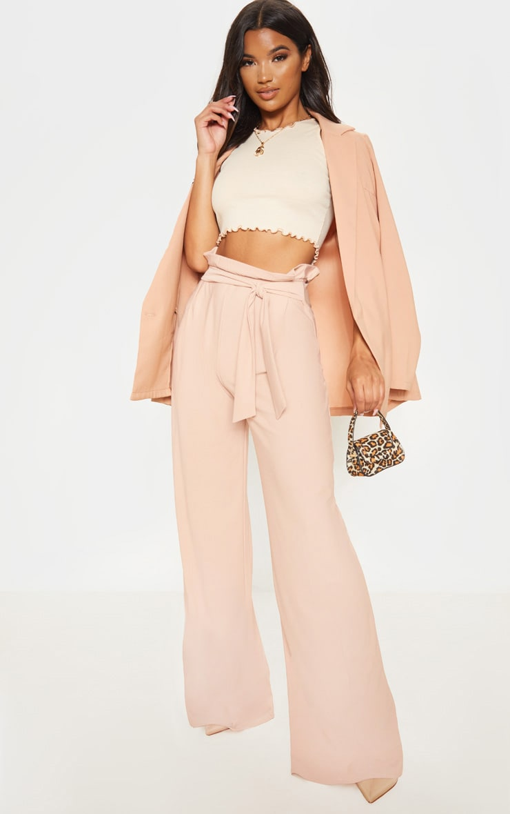 Nude Belted Wide Leg Trousers by Prettylittlething