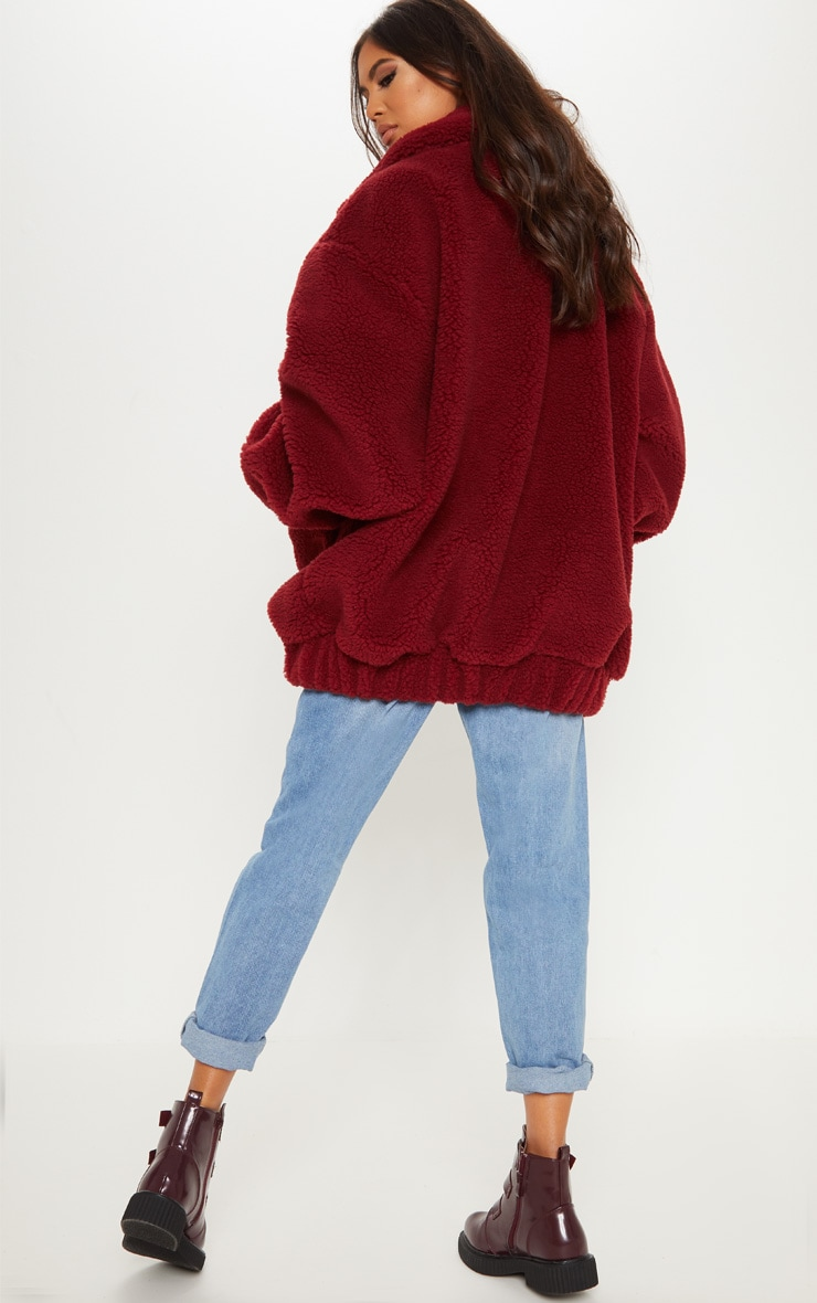 Burgundy Oversized Borg Pocket Front Coat  2