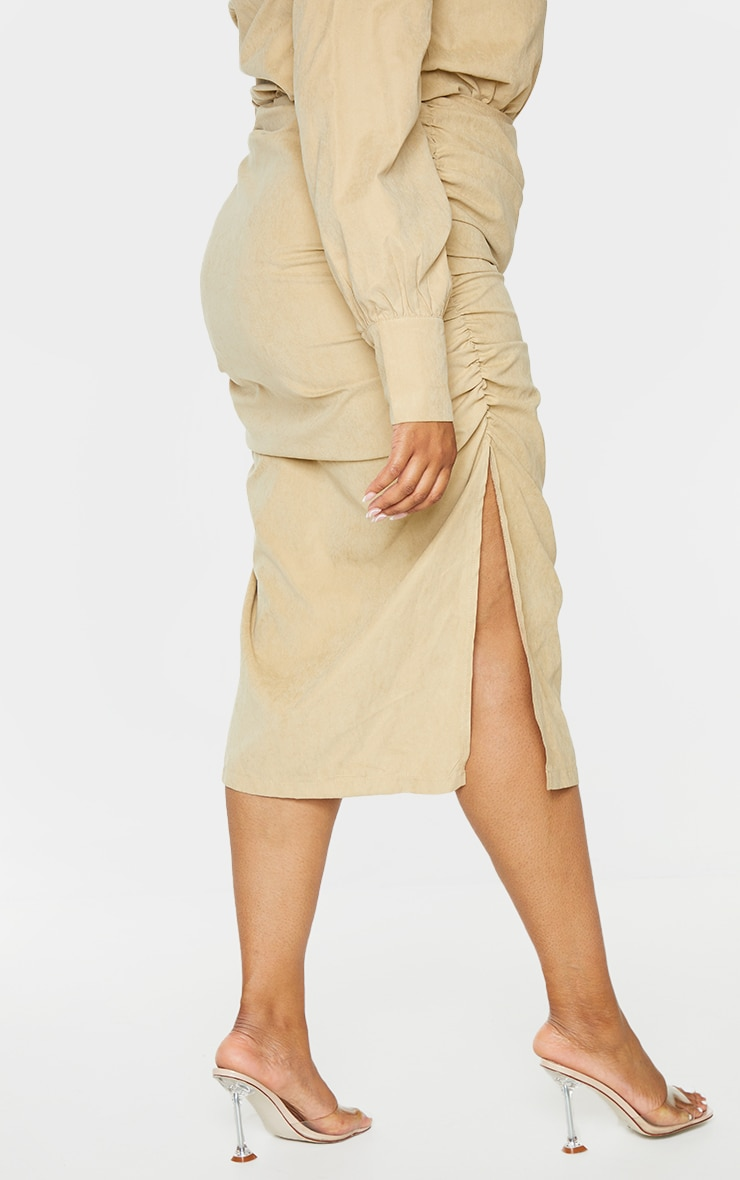 Plus Stone Suede Textured Ruched Midi Skirt 3