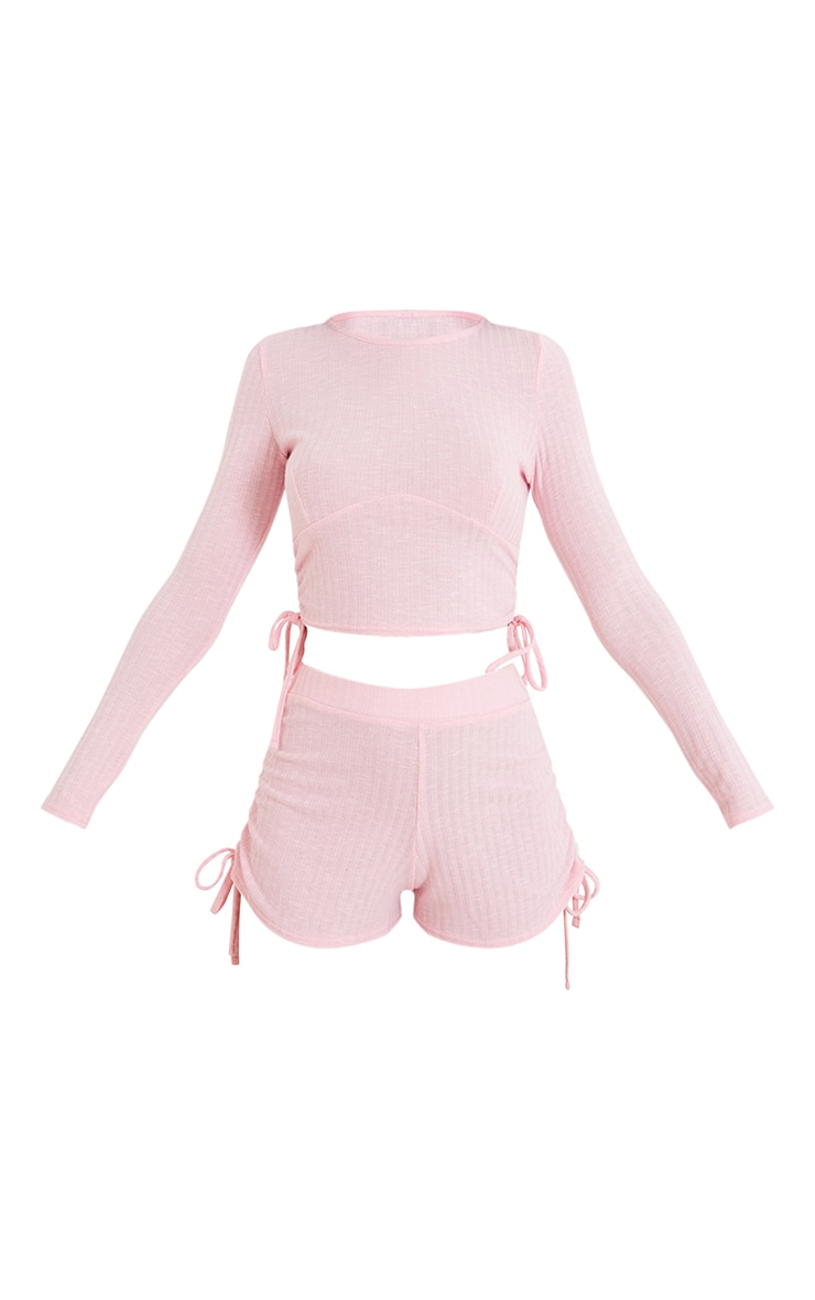 Pink Rib Ruched Side Tie Detail Top And Shorts PJ Set 5