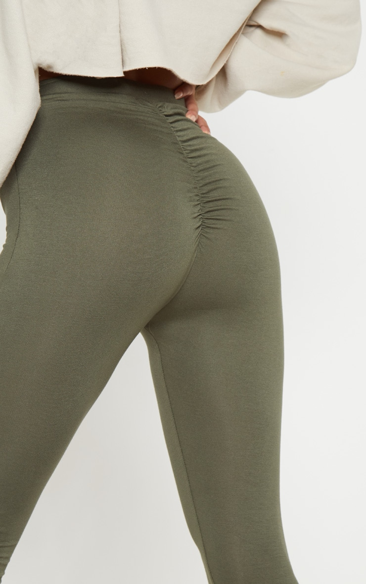 Khaki Ruched Back Jersey Legging 5