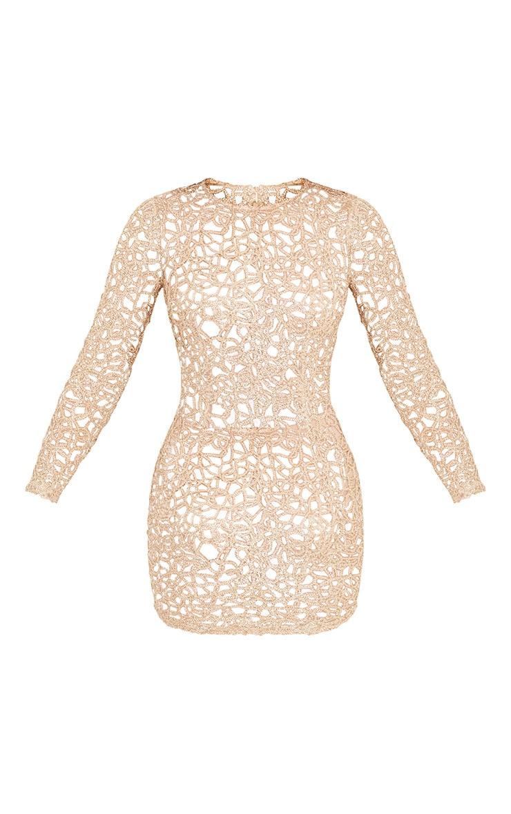 Elise Gold Detail Mesh Bodycon Dress 3