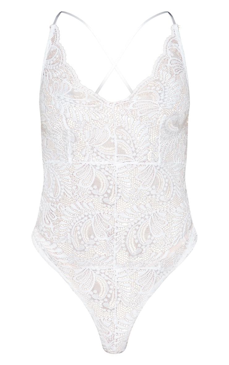 Lucille White Sheer Lace Cross Back Bodysuit 3