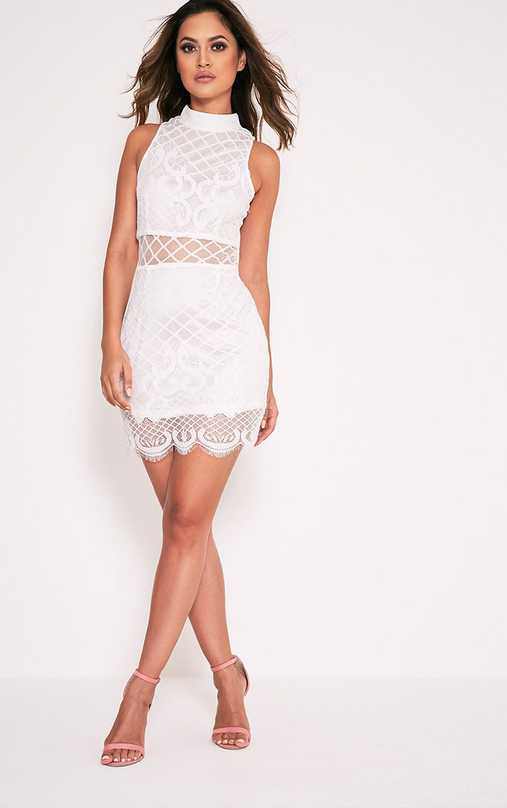 Aura White Lace Up Back Bodycon Dress 1