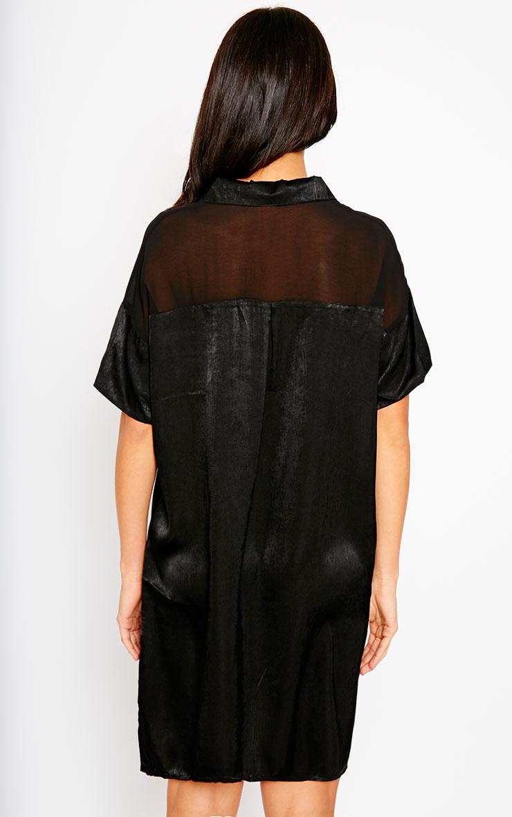 Dina Black Silky Panel Shirt Dress 2