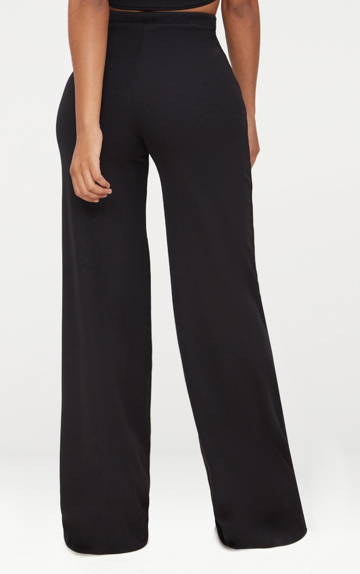 Shape Black Ribbed Bandage Wide Leg Trousers 4
